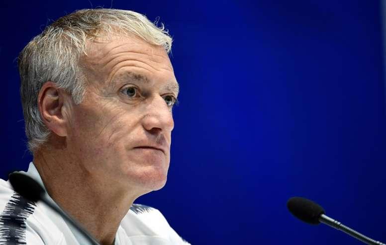 Didier Deschamps donne un conférence de presse au stade national d'Andorre. AFP