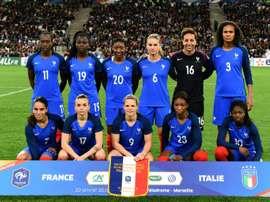 L'équipe de France féminine avant un match amical face à l'Italie. AFP