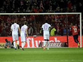 L'attaquant de Lille Nicolas Pépé buteur lors du match nul 1-1. AFP