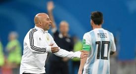Sampaoli, Messi y un cambio del que todo el mundo habló. AFP