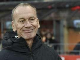 L'entraîneur de Brest Jean-Marc Furlan lors du déplacement à Brest. AFP