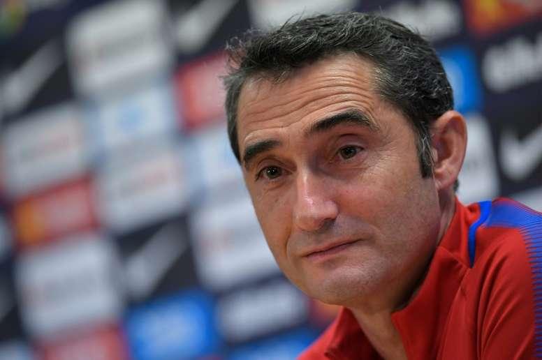 Valverde, en rueda de prensa. AFP