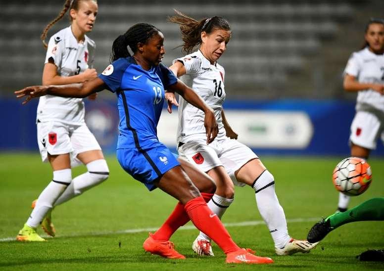 L'attaquante des Bleues Kadidiatou Diani lors du match face à l'Albanie. AFP