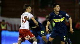 Leonardo Balerdi (d), lors d'un match de Superliga face à Huracan. AFP