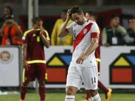 Claudio Pizarro lors du match face au Venezuela. AFP