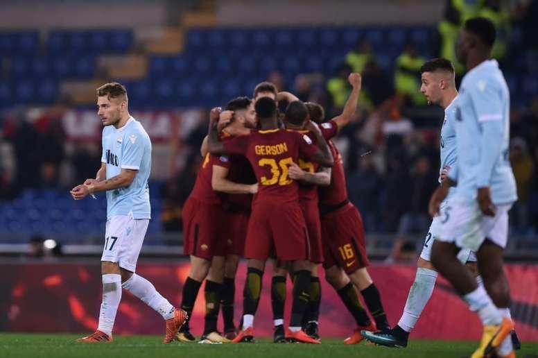 A Roma venceu a Lazio por 2-1, neste sábado. AFP
