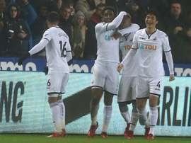 El Swansea ganó el partido 8-1 ante el Notts County. AFP