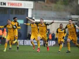 Les joueurs de Brighton lors de la victoire sur Millwall en Coupe d'Angleterre. AFP