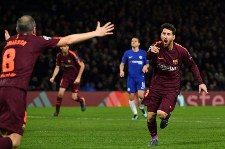 El gol de Messi en la ida ya forma parte de la historia de los Barça-Chelsea. AFP