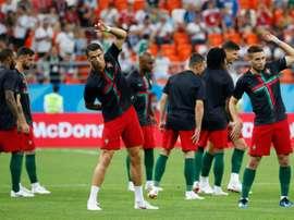 Cristiano Ronaldo et les Portugais avant d'affronter l'Iran. AFP