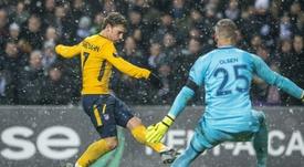 Griezmann mostró su magia en el Parken Stadion. AFP