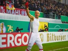 Robben heureux lors de la victoire à Pedeborn. AFP