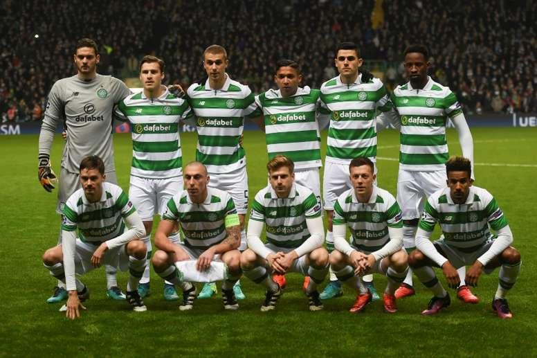 L'équipe du Celtic lors d'un match de Ligue des champions contre le Barça à Glasgow. AFP
