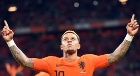 Memphis Depay buteur lors de la victoire face à l'Allemagne 3-0. AFP