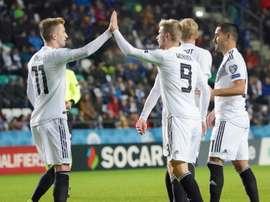 Timo Werner (C) a marqué le 3e but de son équipe face à l'Estonie. AFP