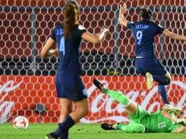 L'attaquante Jodie Taylor inscrit le but du break pour l'Angleterre face à l'Espagne à l'Euro. AFP