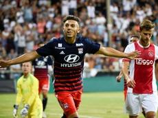 L'attaquant de Lyon et des U17 français Amine Gouiri après un but contre l'Ajax en amical. AFP