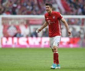 L'attaquant du Bayern Munich, Lewandowski, pendant un match de Bundesliga face au Borussia. AFP