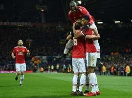 Les joueurs de Manchester United euphoriques après un but inscrit par Marcus Rashford. AFP