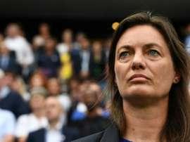 La sélectionneuse des Bleues, Corinne Diacre, lors du 8e de finale du Mondial face au Brésil. AFP