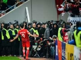 L'attaquant polonais Robert Lewandowski exulte après avoir inscrit un but face à la Roumanie. AFP