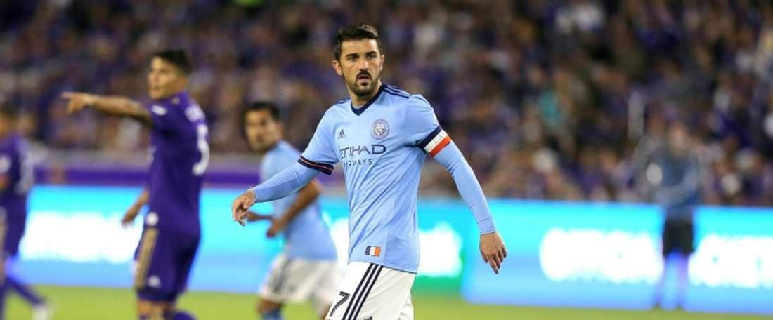 Le New York City de David Villa, tenu en échec à domicile par New England, ici le 5 mars 2017. AFP