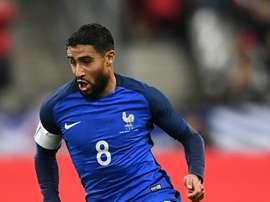 Nabil marque un but pour l'Équipe de France. AFP