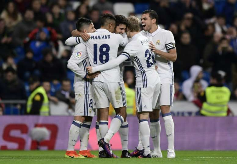 Mariano (18) scored a hat-trick while Enzo Zidane scored on debut. AFP