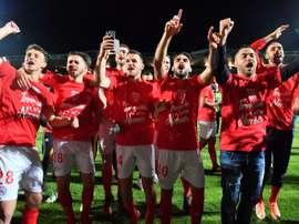 Lo lograron goleando 4-0 al GFC Ajaccio. AFP