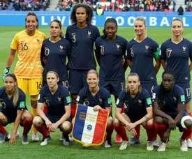 Les Françaises lors du match face à la Corée du Sud. AFP