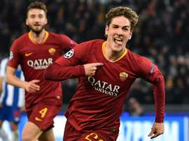 Zaniolo celebrates a goal against Porto during a magical night for the youngster. AFP