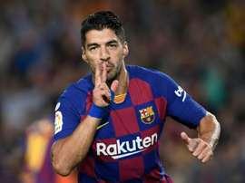 Luis Suárez est désormais le quatrième meilleur buteur de l'histoire du Barça. AFP
