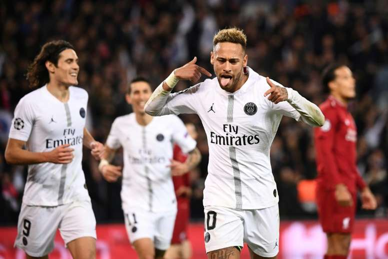 Neymar vient de marquer le 2e but du PSG contre Liverpool. AFP