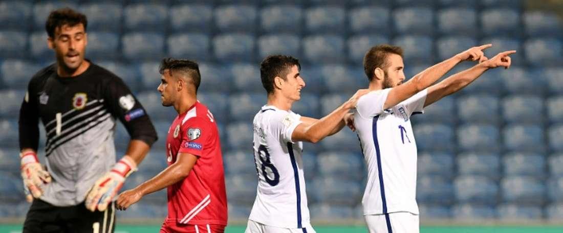 Gibraltar plantó cara a la selección griega en la primera mitad. AFP