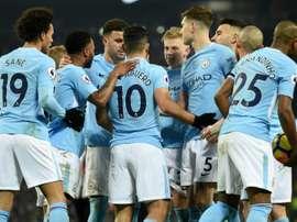 Manchester City avec un Sergio Agüero euphorique a dominé Newcastle. AFP