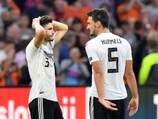 Les défenseurs allemands Jonas Hector et Mats Hummels. AFP