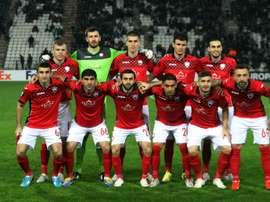 Léquipe azérie de Qabala avant un match dEuropa League, le 26 novembre 2015 à Thessalonique contre le PAOK