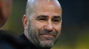 L'entraîneur de Leverkusen Peter Bosz lors du match à Dortmund. AFP