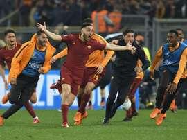 Manolas ricorda la sua rete contro il Barcellona. AFP