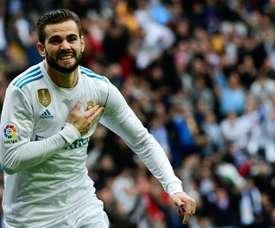 Nacho Fernandez ouvre le score pour le Real Madrid contre Séville à Santiago Bernabeu. AFP