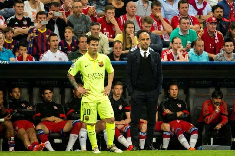 Messi y Guardiola coincidieron cuatro temporadas en el Barça. AFP