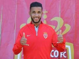 Le défenseur de Monaco Jorge lors de sa présentation officielle au stade Louis II. AFP