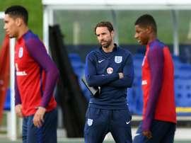 Le sélectionneur intérimaire Gareth Southgate lors d'une séance d'entraînement de l'Angleterre. AFP