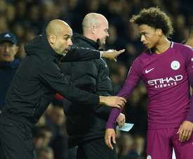 Leroy Sane suffered ankle ligament damage in the FA Cup tie against Cardiff. AFP