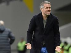 L'entraîneur de Lorient Michaël Landreau lors du déplacement à Toulouse. AFP
