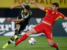 L'attaquant de la Roja, Diego Costa, lors du match contre la Macédoine. AFP