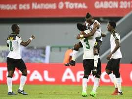 La joie des Ghanéens après le but d'Asamoah Gyan (N.3) contre le Mali. AFP