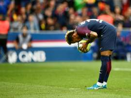 Neymar prepares to take a penalty. AFP