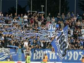 Les supporters de Bastia encourangent leur équipe lors de la réception de Toulouse. AFP