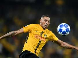 Guillaume Hoarau avec les Young Boys contre Manchester United. AFP